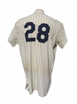 ULTRA RARE 1961 BUD DALEY NEW YORK YANKEES WORLD SERIES GAME USED JERSEY DALEY LOA