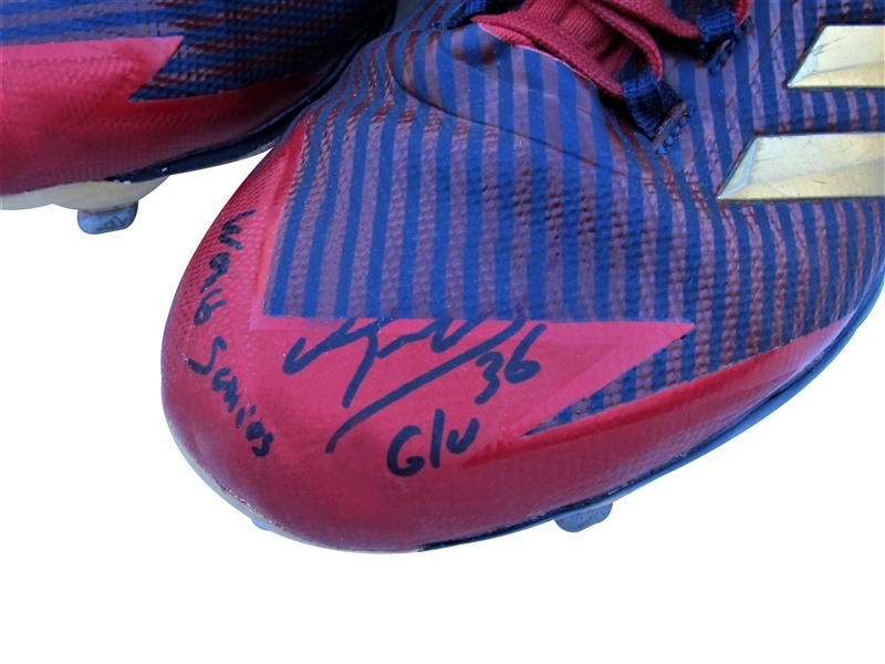 2018 EDUARDO NUNEZ WORLD SERIES GAME USED SIGNED CLEATS WITH WORLD SERIES G/U INSCRIPTION