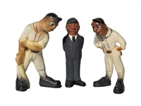 1941 LAFAYETTE RITTGERS SET OF (3) CHALKWARE BASEBALL FIGURES WITH PITCHER, BATTER, AND UMPIRE