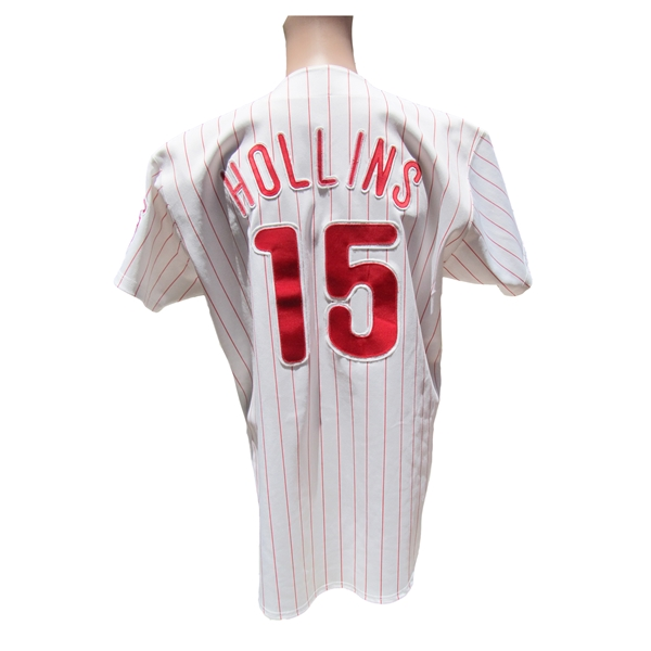 1992 DAVE HOLLINS PHILLIES SIGNED GAME USED JERSEY