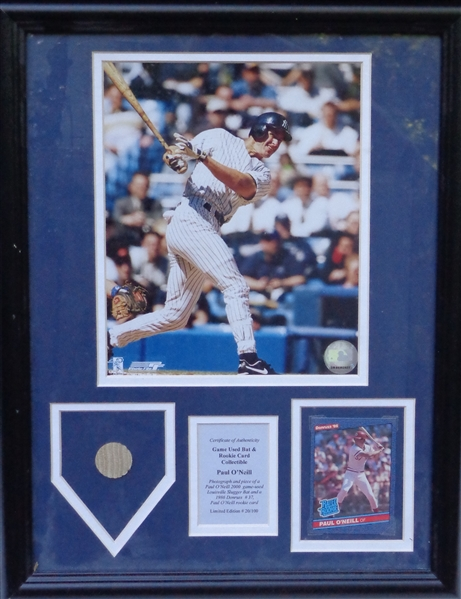PAUL ONEILL GAME USED BAT AND ROOKIE CARD COLLECTIBLE