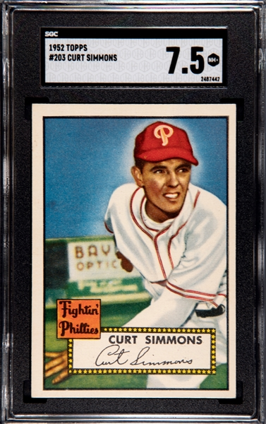 1952 TOPPS CURT SIMMONS SGC 7.5